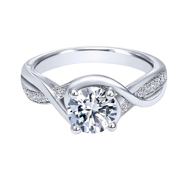 Round Contemporary White Gold Custom Engagement Rings