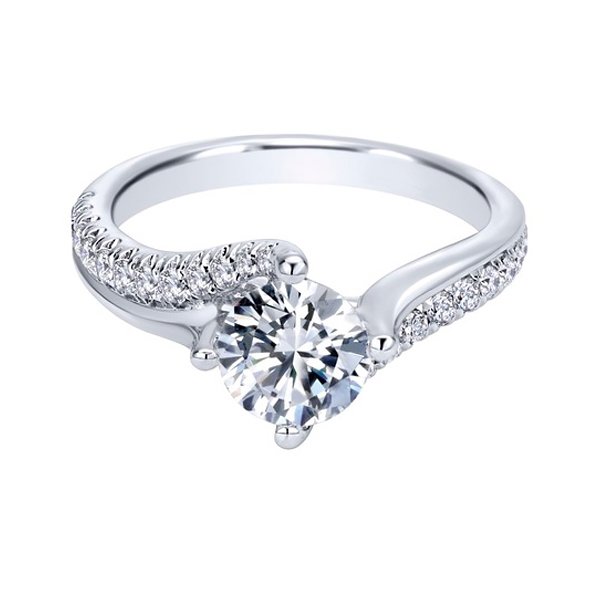 Round Contemporary White Gold Custom Diamond Engagement Rings